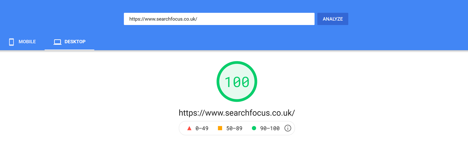 Pagespeed Insights SEO Speed Test Score